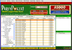 Party Poker Online Poker Lobby